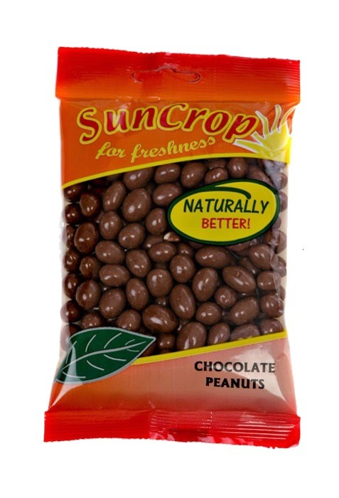Chocolate Peanuts from Suncrop Prepackaged Snacks as distributed by  Castle Snackfood Distribution Ltd, Ireland